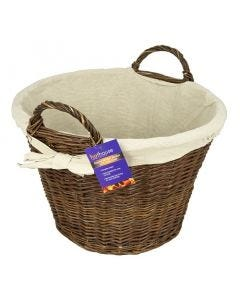Hothouse Round Wicker Basket with Jute Liner