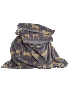 Hartley Grey Stag Fleece Blanket