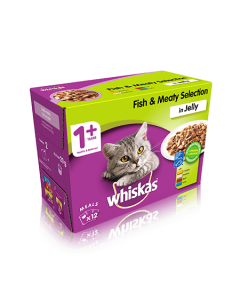 Whiskas 1+ Fish & Meaty Selection in Jelly 12 x 100g